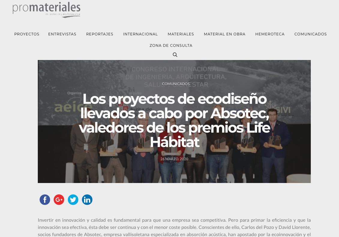 Promateriales se hace eco de nuestro premio en el Congreso Life Habitat